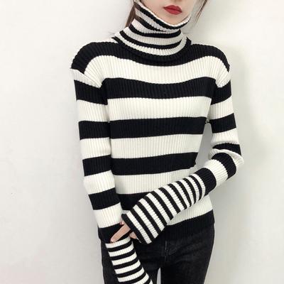 2018秋冬新款黑白条纹高领套头针织女士毛衣宽松显瘦时尚打底衫潮