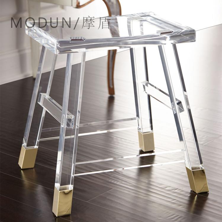 简约透明有机玻璃吧台凳子个性高脚凳亚克力酒吧凳家用进门换鞋凳