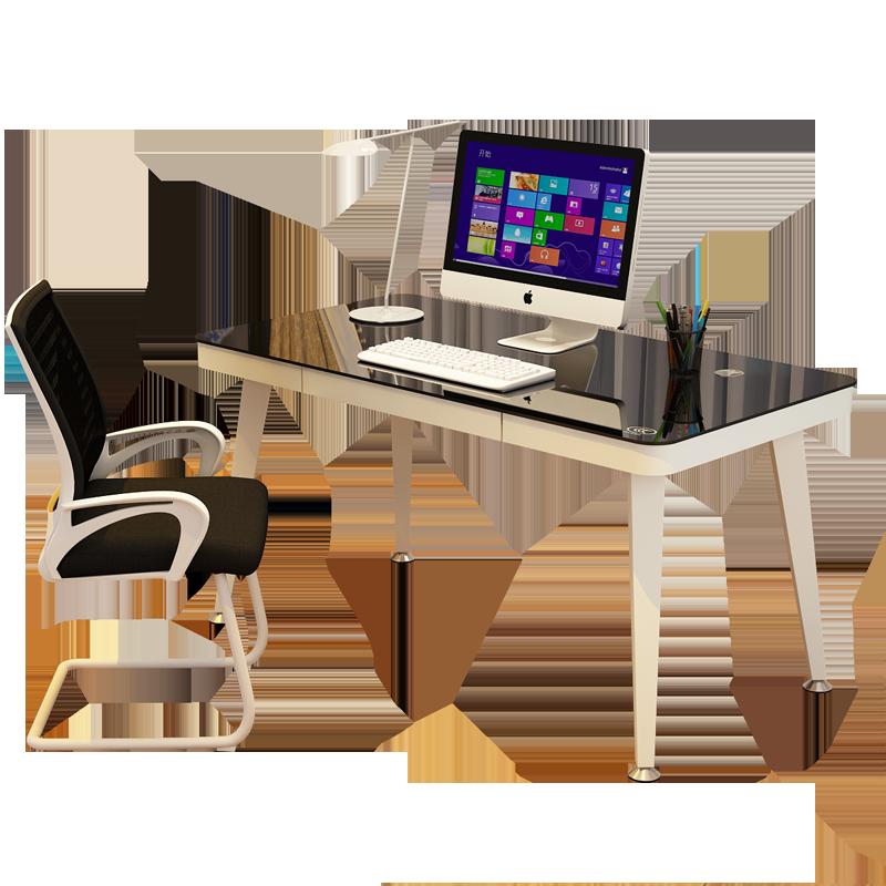 电脑桌台式家用简约钢化玻璃书桌北欧写字桌台简易学习桌子办公桌