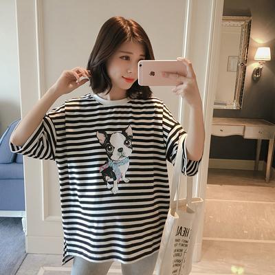 纯棉孕妇夏装2018新款韩版条纹孕妇短袖T恤短款宽松圆领孕妇上衣