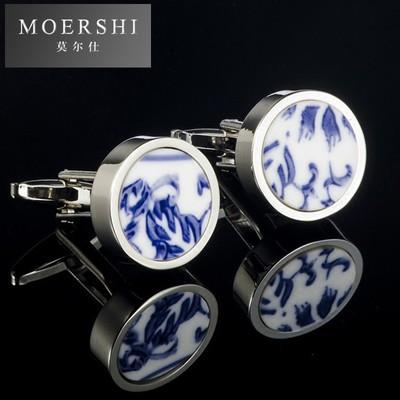 MOERSHI袖扣袖钉圆形青花瓷男士商务法式衬衫百搭陶瓷袖扣情sj816