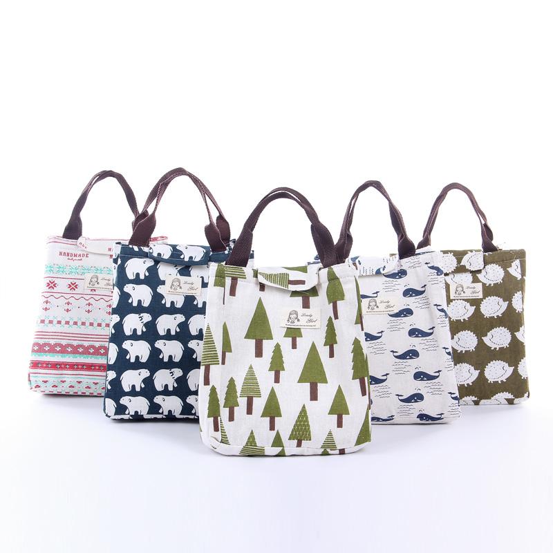 日本小清新防水便当包手提可爱帆布加厚饭盒袋大号铝箔带饭保温袋