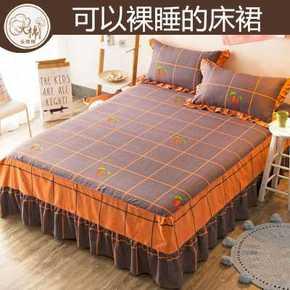 纯棉床罩床裙单件全棉床单三件套防滑床笠双人床盖1.8m1.5米床群