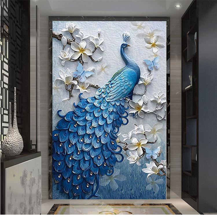 凹凸玄关壁纸 5D 立体走廊背景墙纸艺术油画孔雀浮雕过道屏风墙布 3D