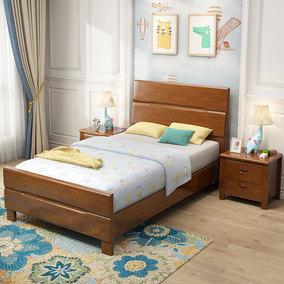 床1.2米实木单人床成人简约现代原木小户型1m储物高箱小床抽屉床