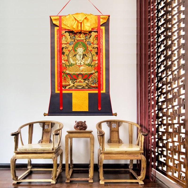 尼泊尔进口棉布 天然矿物颜料耐用 莲师皈依境唐卡佛像 1.3m