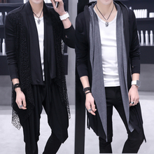 风衣男个性外套中长款春季韩版理发型师帅气披风潮流男装薄款大衣