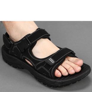 沙滩鞋鞋露扣凉鞋搭扣休闲防滑夏季露趾耐磨平跟日常休闲橡胶纯色