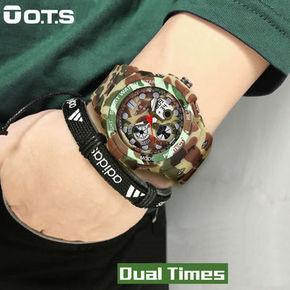 新款O.T.S电子表防水潮男士多功能户外运动手表跑步军事迷彩手表