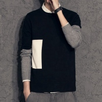 秋季新款毛衣男加绒圆领拼色套头打底线衫韩版青少年男士针织衫潮