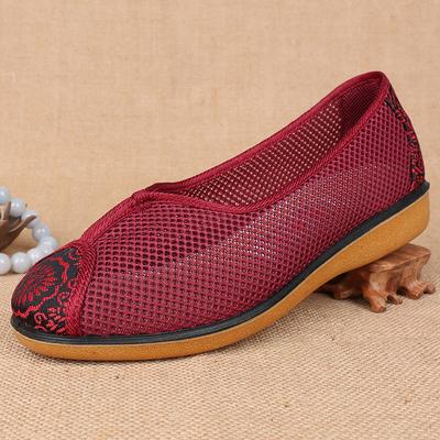 清仓价!夏老北京布鞋女网鞋平跟妈妈女大小码中老年老人奶奶凉鞋