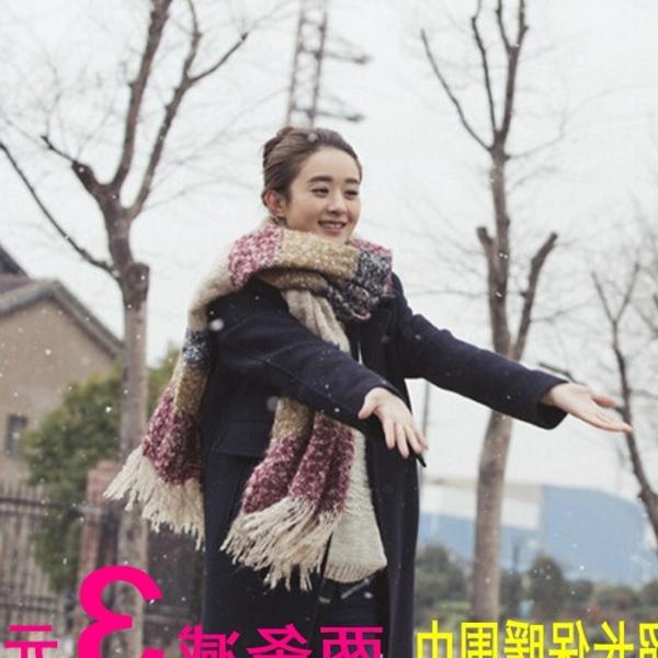 加厚保暖围脖女冬天韩国 冬季毛线围巾长款 杉杉来了赵丽颖实习同款