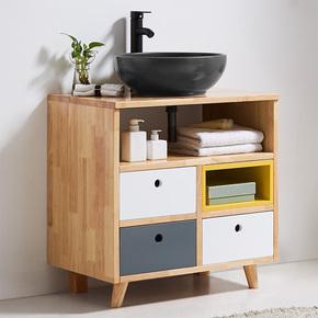 古古拉风现代极简约洗漱洗手盆柜 黑白灰北欧风格实木浴室柜组合