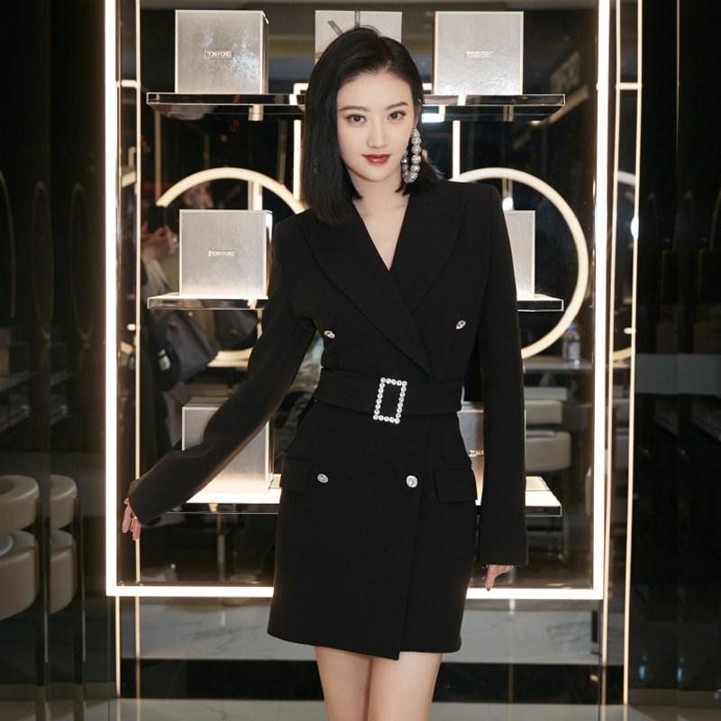 景甜明星同款黑色西装外套女职业装中长款收腰韩版西服连衣裙秋冬