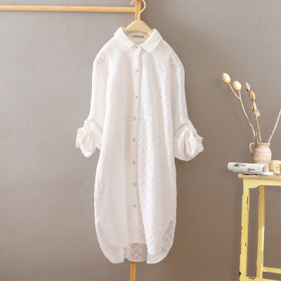 前短后长棉麻料刺绣白色衬衫女长袖韩版宽松中长款衬衣上衣打底衫