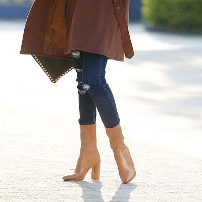 2017秋冬新款尖头粗跟马丁靴绸缎莱卡弹力布瘦腿高跟中筒靴短靴女评测