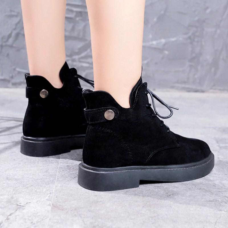 冬季加绒短靴子马丁靴女浅色藏蓝色33深蓝色文艺时髦裸靴新款柔软