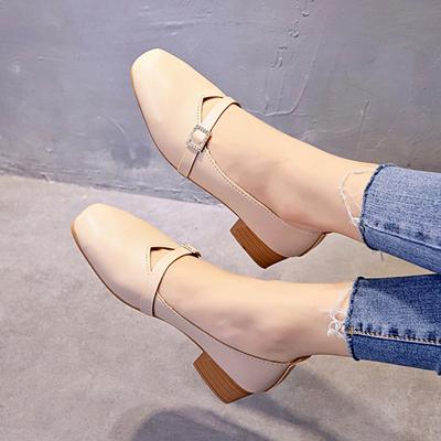 方头单鞋女秋季2018新款韩版百搭浅口奶奶鞋粗跟玛丽珍鞋中跟女鞋