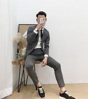 陌速 2018春秋纯色单件上班小西服韩版修身男士结婚西装休闲外套