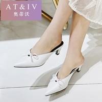 奥蒂沃品牌新款蝴蝶结细跟真皮凉拖时尚包头后空凉鞋外穿拖鞋yy88