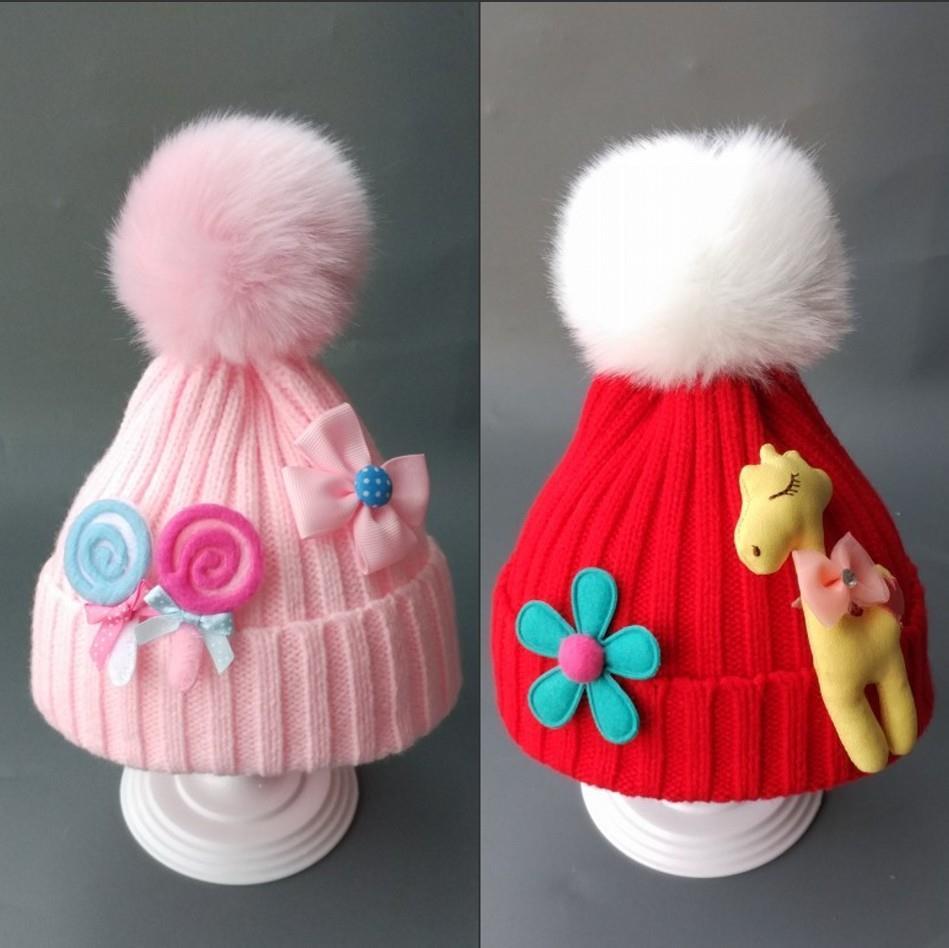 红色兔子男童加厚小朋友防风保护头部毛球电瓶车四个月宝宝帽子