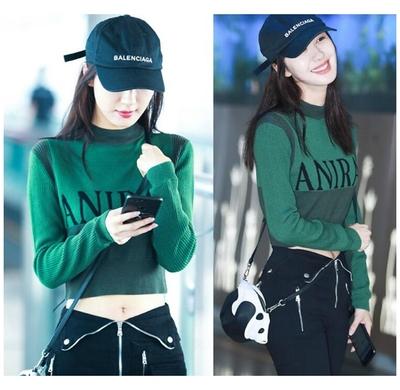 李菲儿同款2018新款绿色字母撞色短款秋冬打底针织衫毛衣高腰上衣