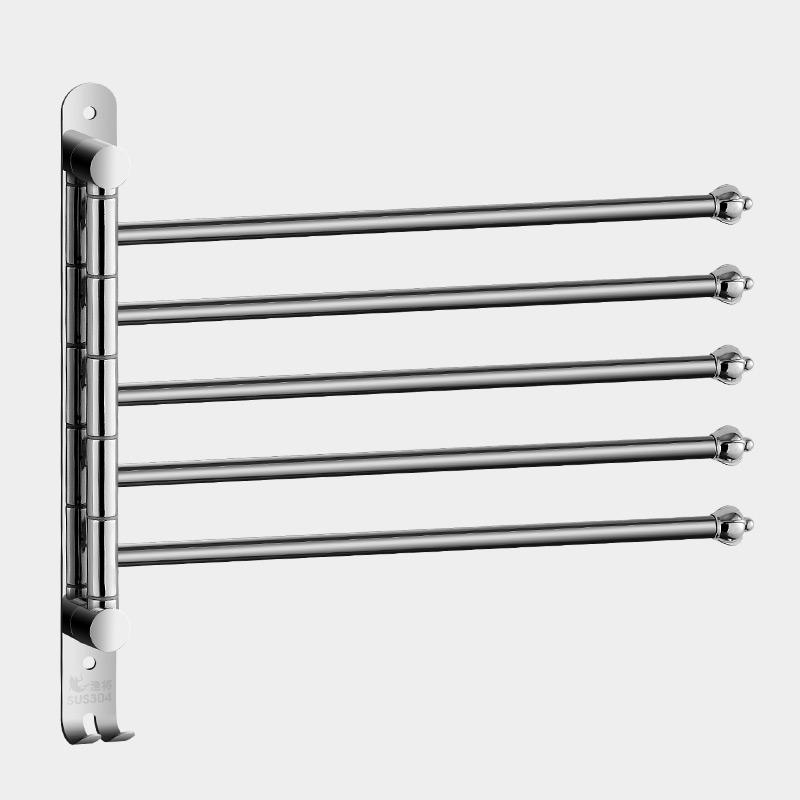 卫生间旋转毛巾杆免打孔浴室厨房抹布可活动多杆挂架不锈钢304