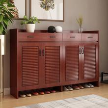 超薄鞋柜玄关柜简约现代实木门厅柜 客厅百叶门鞋柜大容量储物柜
