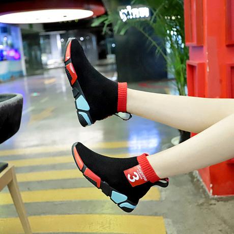 韩版原宿弹力袜子靴女短靴春秋季2019新款时尚彩色鞋底高帮运动鞋商品大图