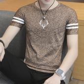半袖 印花潮男圆领修身 男装 T恤韩版 冰丝短袖 夏天个性 打底汗衫 男士