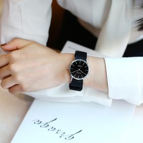 女士手表防水时尚款情侣对表黑色帆布带学生手表男石英表2018新款