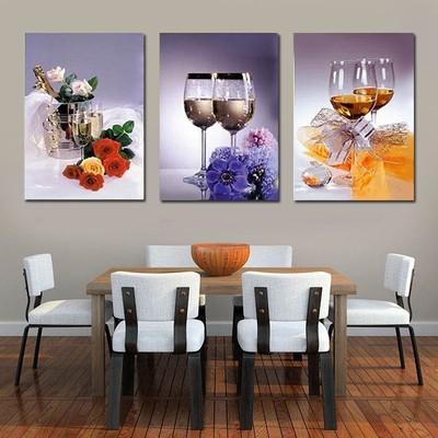 印花十字绣正品新款客厅卧室线绣红酒杯画三联大幅系列 浪漫餐厅
