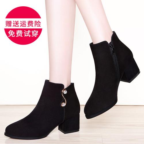 2017新款短靴女秋冬韩版防水台磨砂皮靴子高跟尖头粗跟马丁靴裸靴