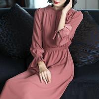 2018新款女装春装气质淑女粉红色长袖中长款收腰显瘦雪纺连衣裙女