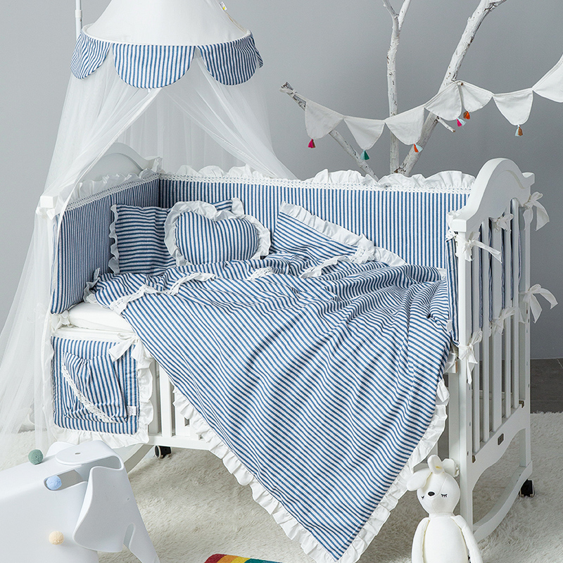 爱予INS样版间床单圆床公主风纯棉婴儿床围套件被子宝宝床上用品