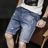 大码 夏天5分破洞马裤 休闲薄款 男五分裤 夏季牛仔短裤 潮流宽松男士图片
