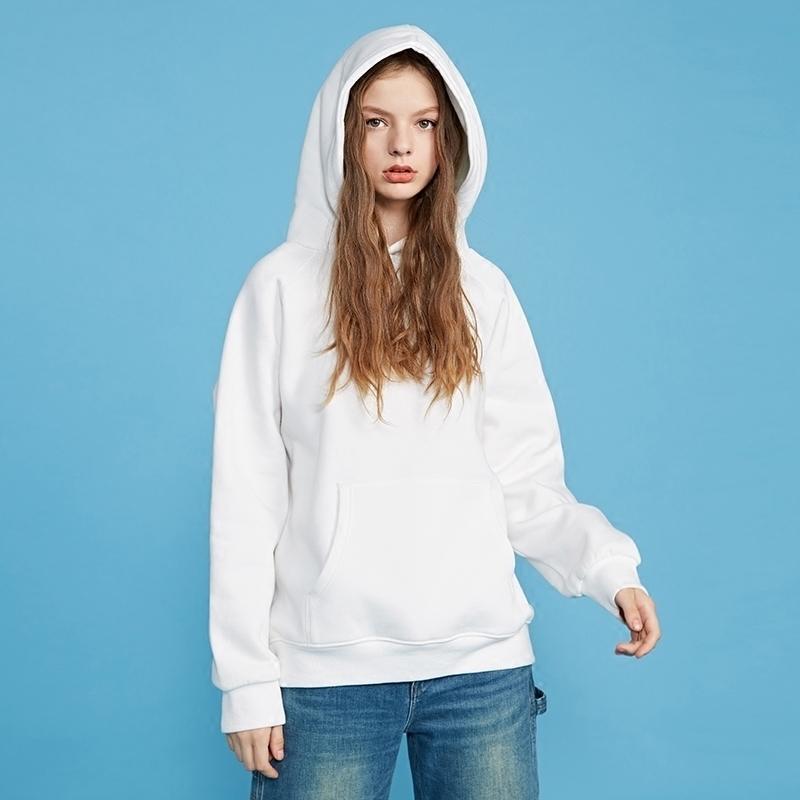 2017秋冬新款白色连帽加绒加厚卫衣女韩版宽松bf学生纯色套头外套