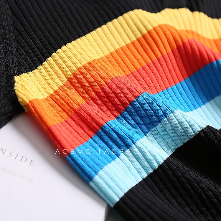 法单 柜1590 彩色条纹拼接Polo领针织长裙MQ677