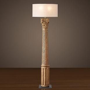 美式乡村复古落地灯客厅别墅艺术手工实木雕刻希腊罗马柱落地灯具
