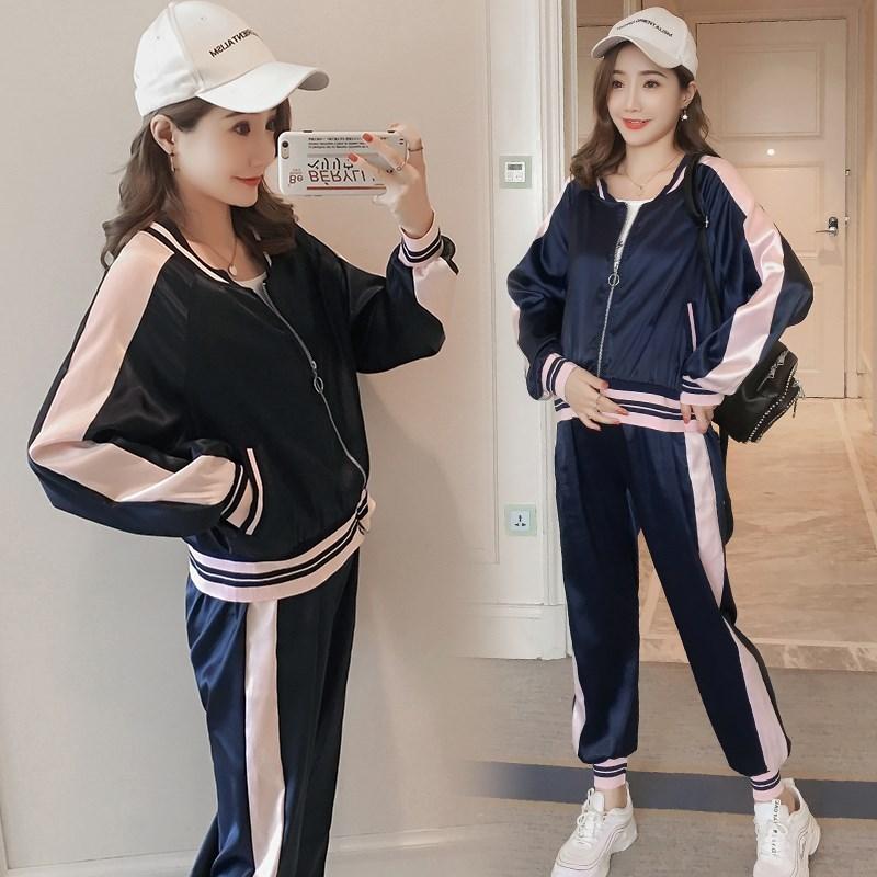 孕妇秋装套装时尚款2018新款休闲夹克外套+运动休闲托腹裤两件套
