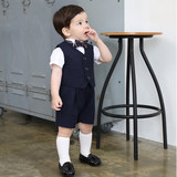 Children's suits, boys, small suits, three-piece male baby birthday, old-fashioned dress, handsome flower girl, small suit