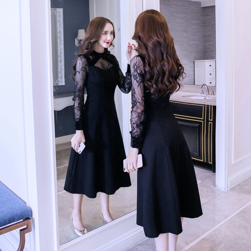 Autumn clothing female 2018 new slim long lace skirt temperament small dress was thin