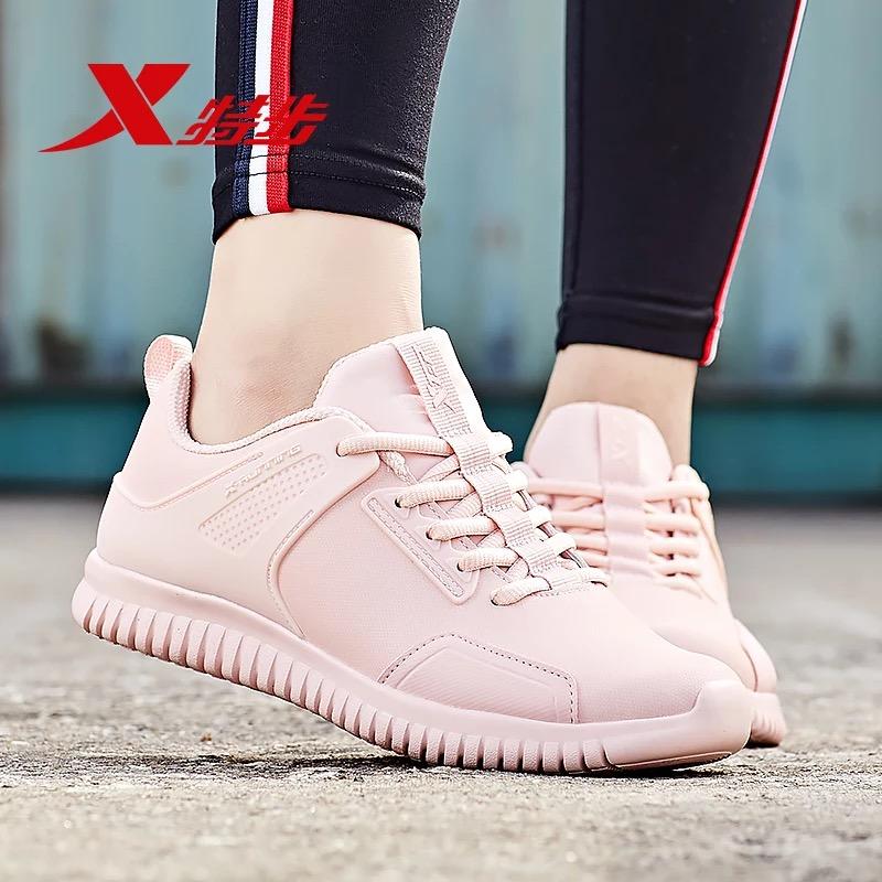 特步女鞋运动鞋2018秋季新款跑鞋减震透气耐磨休闲鞋皮革跑步鞋子
