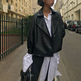 Uta femme PU leather jacket ladies tie waist BF long sleeves show thin black short jacket for spring 2019