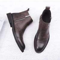 马丁靴男冬季加绒英伦复古切尔西靴男士短靴中高帮保暖棉鞋军靴潮