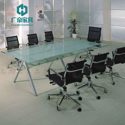 包邮钢化玻璃会议桌长桌简约现代培训洽谈桌大型开会桌环保办公桌