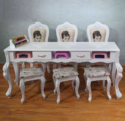 美甲店美甲桌椅子双人新品饭店休闲椅家用简易办公桌时尚卧室电脑