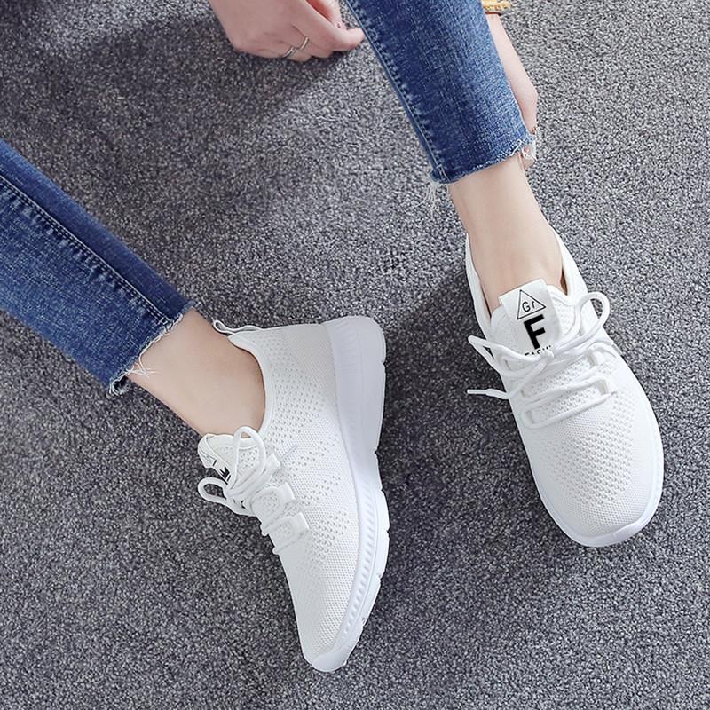 悠致夏季镂空飞织网布鞋女学生运动健身跑步鞋平底透气白色鞋子女