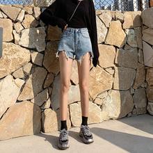 chic宽松显瘦阔腿高腰a字泫雅同款 热裤 女2019夏新款 牛仔短裤 韩版图片