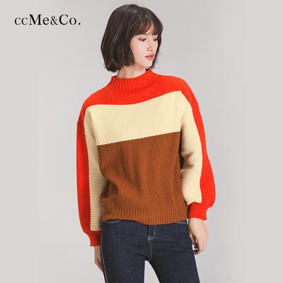 【5折】ccMe&Co拼色彩色毛衣女韩版圆领套头宽松拼接撞色复古外套